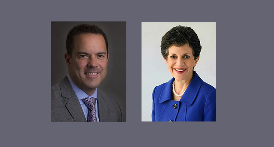 Portrait photos on a white man with short hair wearing a grey suit and a white woman with short hair wearing a blue suit.