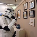 "A person dressed as a stormtrooper for the Cache Valley Center for the Arts performance of ""One Man Star Wars Trilogy"""