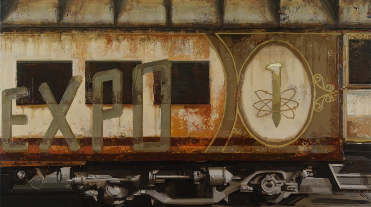 "A painting of a railcar with the for ""EXPO"" on it."