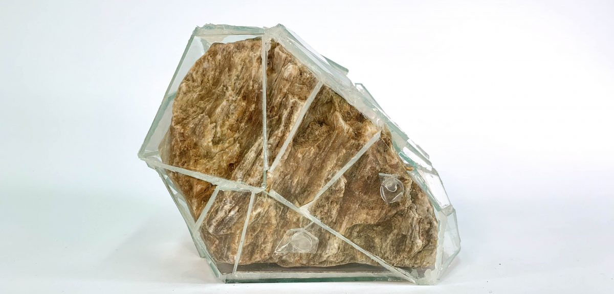 An image of a glass encased rock.