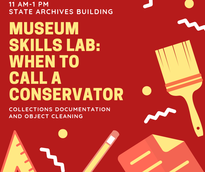 A red and yellow graphic advertising a Museums Skills Lab in 2019.