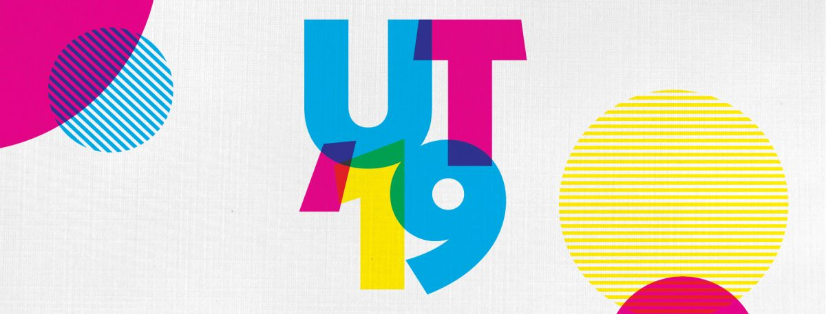 """A colorful image that says, """"UT '19"""""""