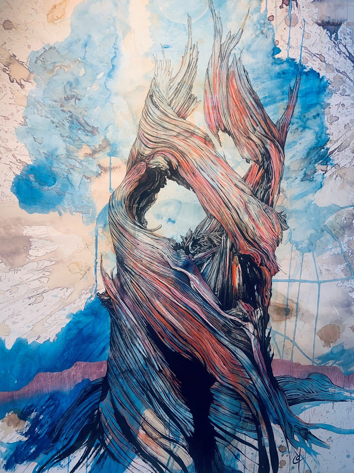 A red and blue painting of a tree trunk.