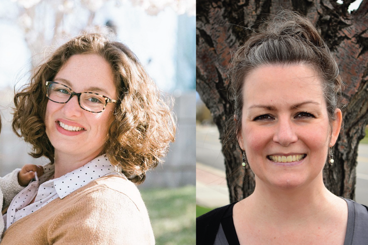 Headshots of two white women with brown hair, smiling.